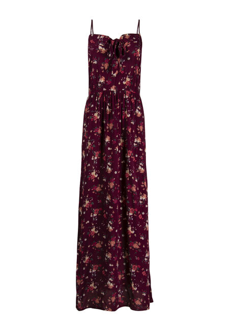 Women's Floral Tie Front Maxi Dress