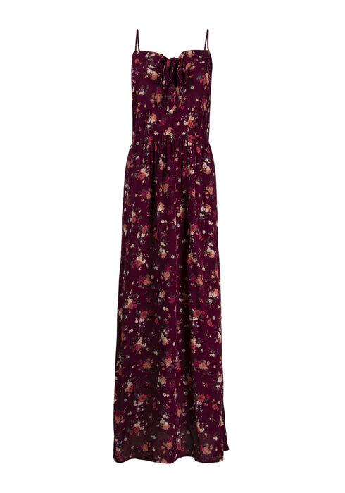 Women's Floral Tie Front Maxi Dress, BURGUNDY, hi-res