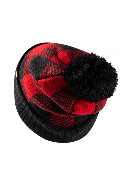 Women's Plaid Hat, RED, hi-res