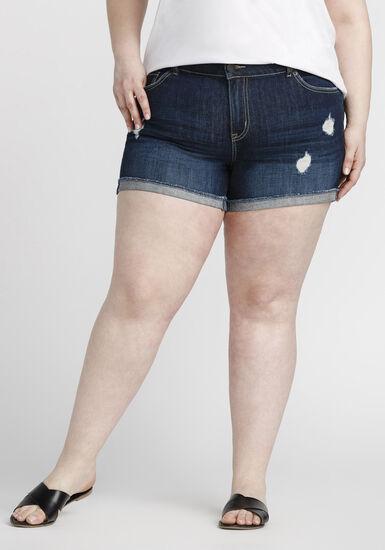 Women's Plus Size Cuffed Denim Short, DARK WASH, hi-res