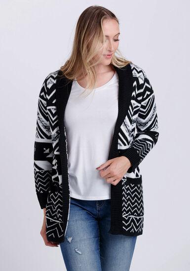 Women's Geometric Cardigan, BLK/WHT, hi-res