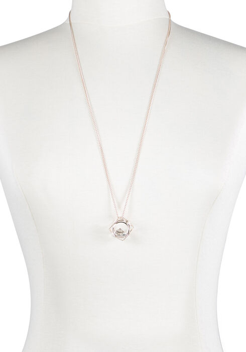 Ladies' Cube Necklace, ROSE GOLD, hi-res