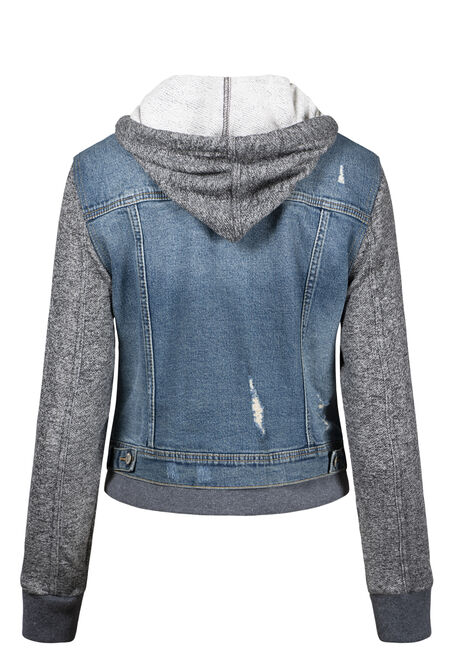 Women's Knit Sleeve Vintage Jean Jacket, LIGHT WASH, hi-res