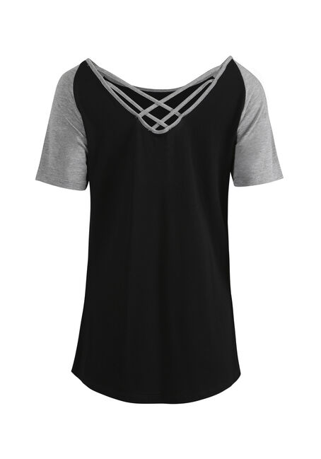 Women's Cage Back Baseball Tee, BLACK/HTHRGREY, hi-res