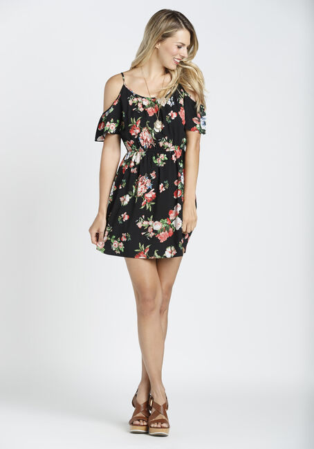 Ladies' Floral Cold Shoulder Dress, BLACK FLORAL, hi-res