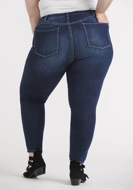 Women's Plus Power Sculpt High Rise Skinny Jeans, DARK WASH, hi-res