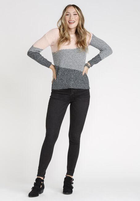 Womens' Colour Block Sweater, MULTI, hi-res