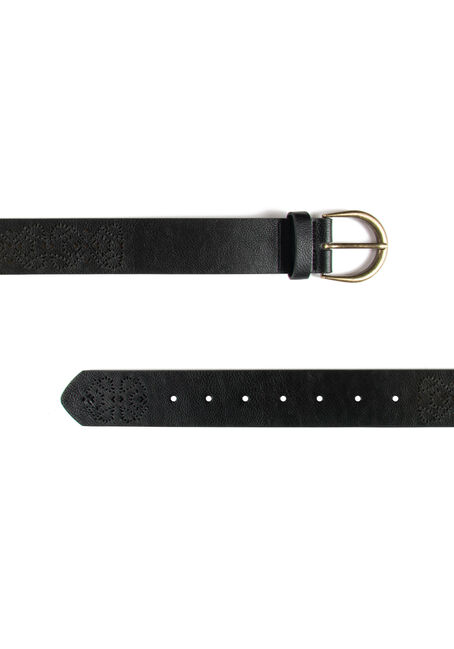 Women's Perforated Belt, BLACK, hi-res