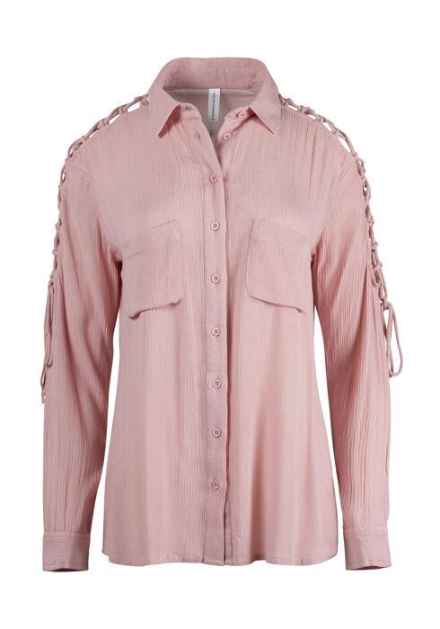 Ladies' Lace Up Sleeve Shirt, ROSE QUARTZ, hi-res