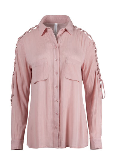 Women's Lace Up Sleeve Shirt, ROSE QUARTZ, hi-res