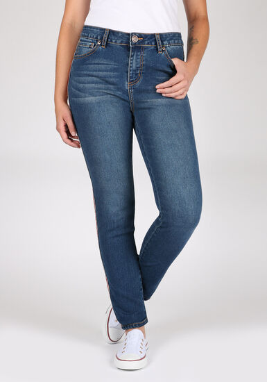 Women's Side Stripe Skinny Jeans, MEDIUM WASH, hi-res