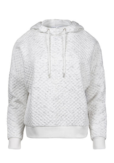 Women's Quilted Hoodie, WHITE, hi-res