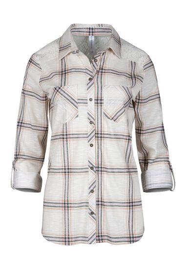 Women's Lace Trim Knit Plaid Shirt, LIGHT PINK, hi-res