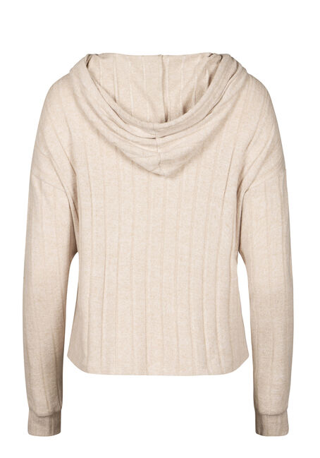 Women's Hooded Wide Rib Top, OATMEAL, hi-res