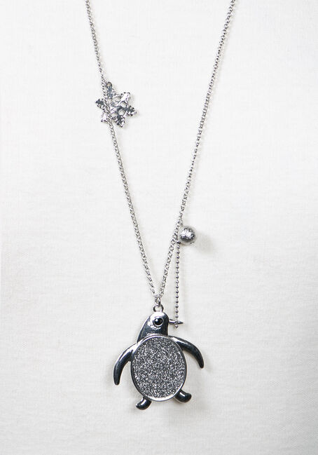Women's Penguin Necklace, SILVER, hi-res