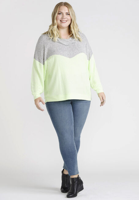 Women's Colour Block Cowl Neck Top, LIMELIGHT/LIGHT GREY, hi-res