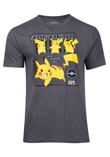 Men's Pikachu Pokemon Graphic Tee, CHARCOAL, hi-res