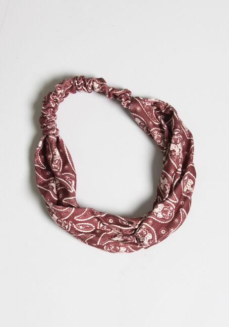 Women's Twist Front Head Wrap, BURGUNDY, hi-res