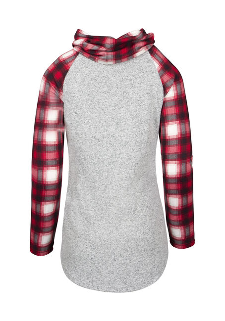 Women's Plaid Cowl Neck Top, CHARCOAL, hi-res