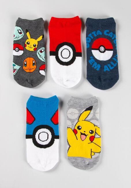 Women's 5 Pair Pokemon Socks, MULTI, hi-res