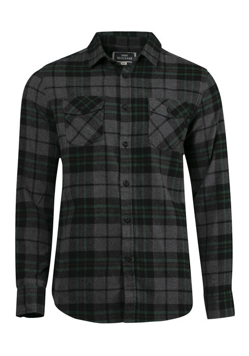 Men's Plaid Flannel Shirt, PINE, hi-res
