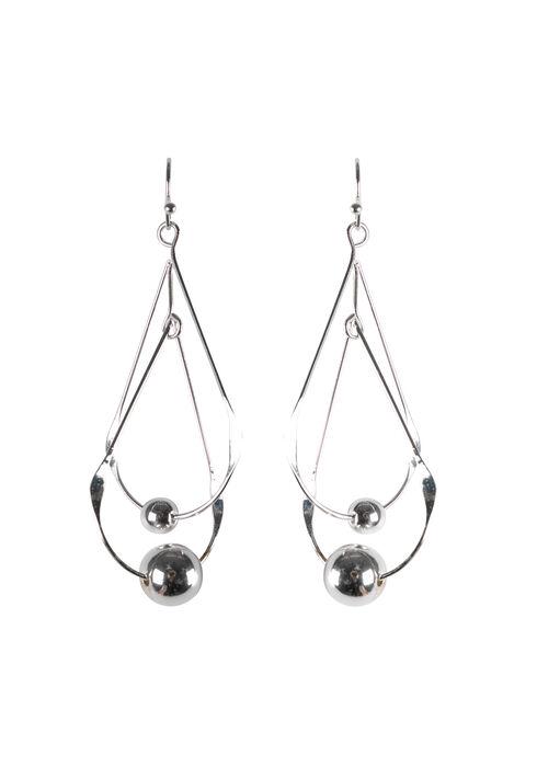 Ladies' Double Teardop Earring, SILVER, hi-res