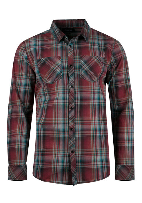 Men's Relaxed Plaid Shirt, BRIGHT RED, hi-res