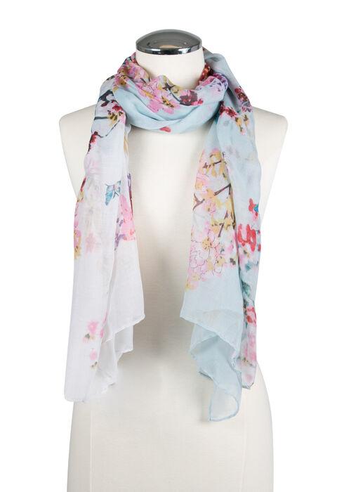 Ladies' Floral  Oblong Scarf, PALE BLUE, hi-res