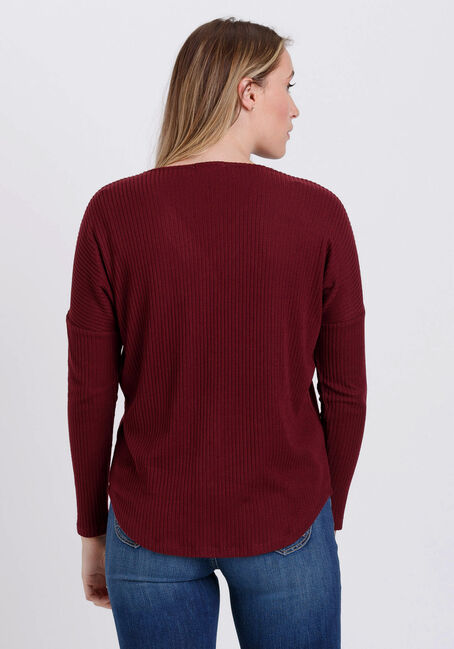 Women's Button Front Ribbed Top, SANGRIA, hi-res