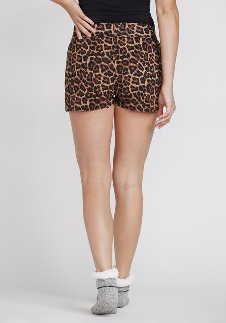 Women's Leopard Print Sleep Short, BROWN, hi-res