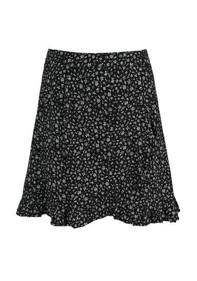 Women's Floral Ruffle Skirt, BLK/WHT, hi-res