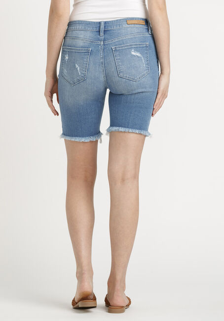 Women's Destroyed Bermuda Short, MEDIUM WASH, hi-res