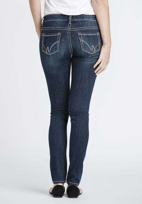 Women's Dark Whisker Wash Skinny Jeans, DARK WASH, hi-res