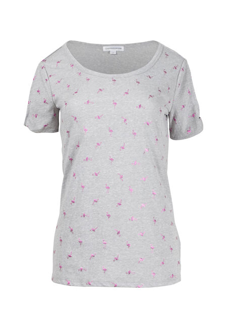 Women's Flamingo Print Split Sleeve Tee