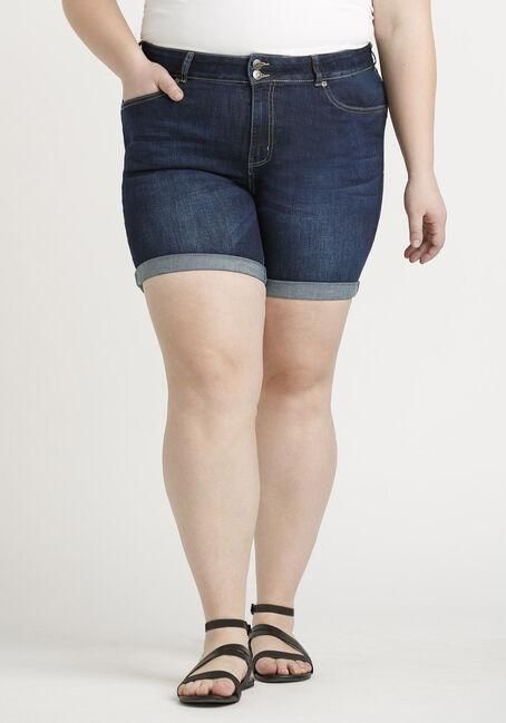Women's Plus 2 Button Cuffed Dark Midi Jean Short
