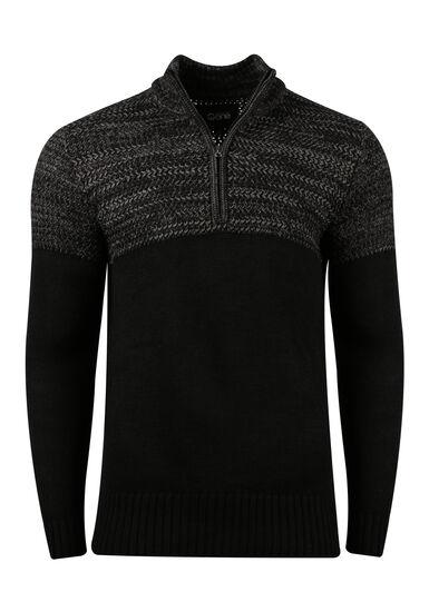 Men's Mock Neck Sweater, BLACK, hi-res