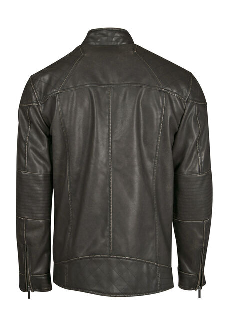 Men's Distressed Moto Jacket, BLACK, hi-res