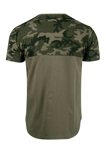 Men's Camo Colour Block Tee, LIGHT OLIVE, hi-res