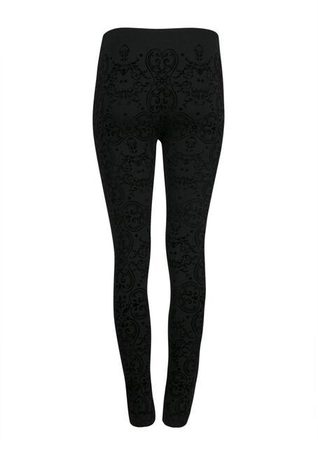 Ladies' Brocade Plush Legging, BLACK, hi-res