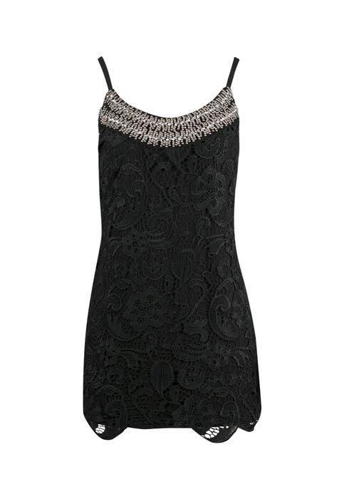 Ladies' Crochet Overlay Tank, BLACK, hi-res