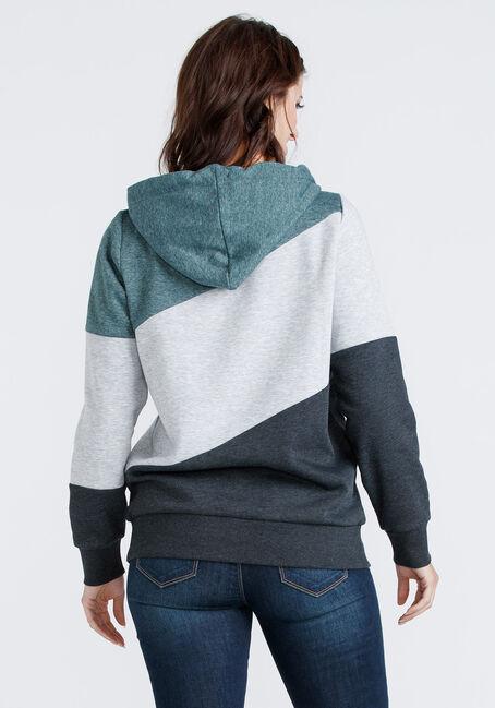 Women's Colour Block Popover hoodie, HUNTER GREEN, hi-res