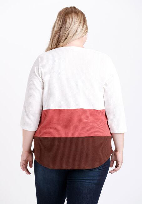 Women's Colour Block Lace Up Neck Top, SIENNA, hi-res