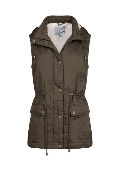 Women's Hooded Utility Vest, OLIVE, hi-res