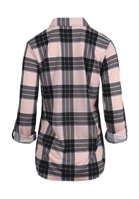 Women's Crochet Trim Knit Plaid Shirt, PINK/BLACK, hi-res