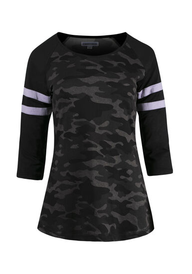 Women's Camo Football Tee, BLACK, hi-res