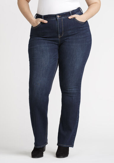 Women's Plus Baby Boot Jeans, DARK WASH, hi-res
