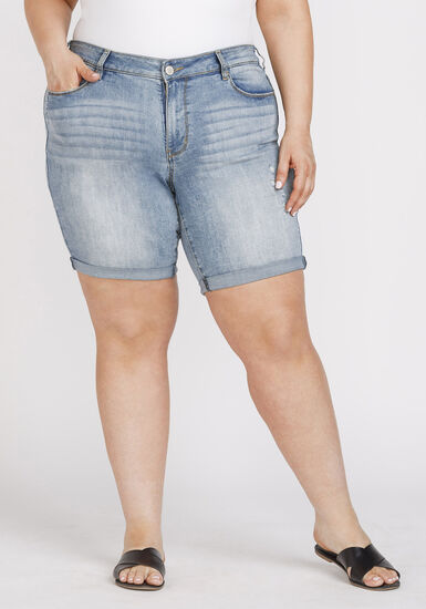 Women's Plus Size Destroyed Relaxed Cuffed Bermuda Short, LIGHT WASH, hi-res