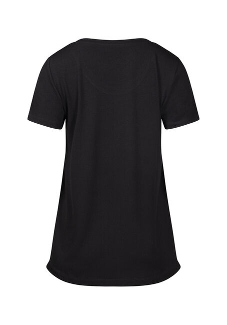 Women's Drapey Scoop Neck Tee, BLACK, hi-res
