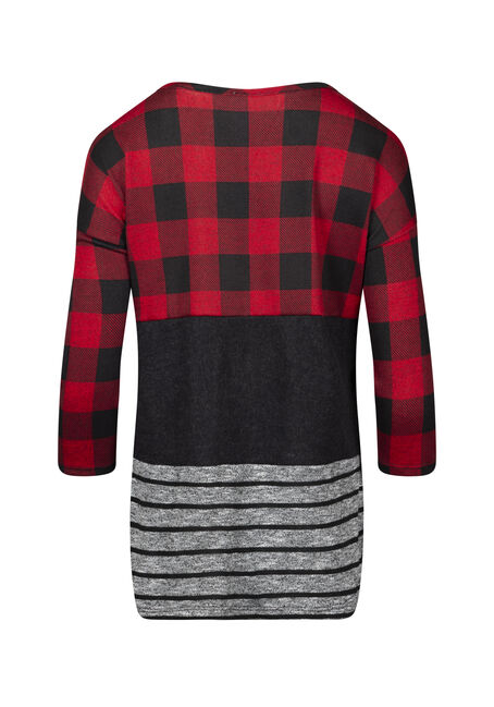 Women's Plaid Colour Block Top, RED, hi-res