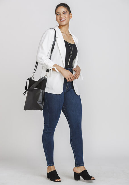 Women's Tie Sleeve Blazer, WHITE, hi-res